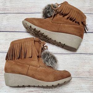 Crazy 8 Moccasin Fringe Brown Boots Girls Size 3